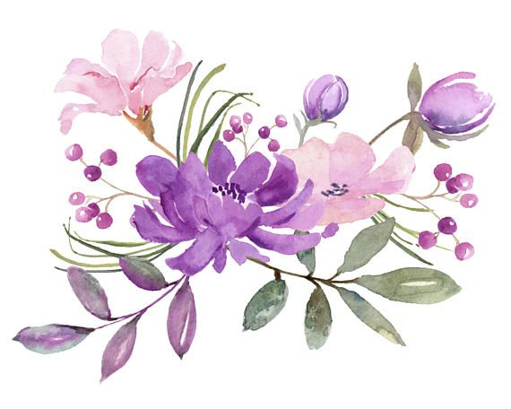 fresh springtime flowers in purple pink and lavender watercolor