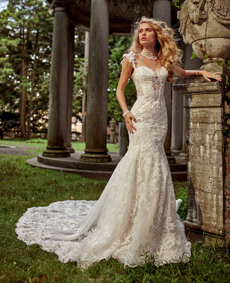 Eve Of Milady Boutique Wedding Dresses Style 1605 Ivory Blush Fit And Flare Hand Bead Beaded Lace Wedding Dress Wedding Dresses Kleinfeld Lacey Wedding Dress
