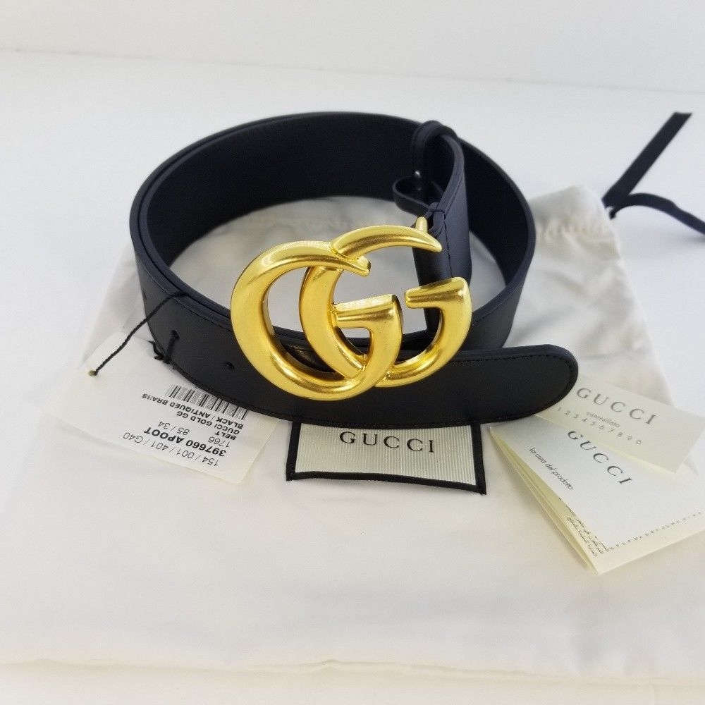 ae4f72c0d eBay #Sponsored Authentic Black Leather Gucci Belt w/Double G Buckle Gold  Size 85 / 34 - No Box