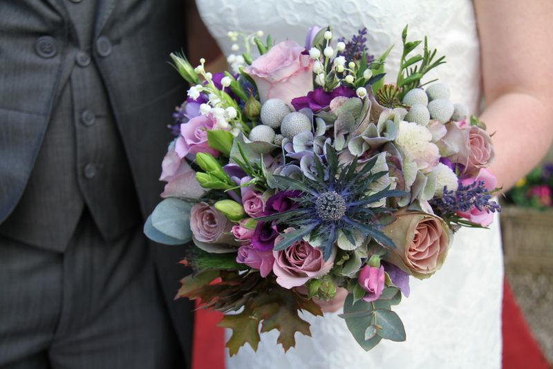 Flower Design Events: A Sneaky Peek at Lindsey & Ian's Winter Purple Wedding at Bartle Hall