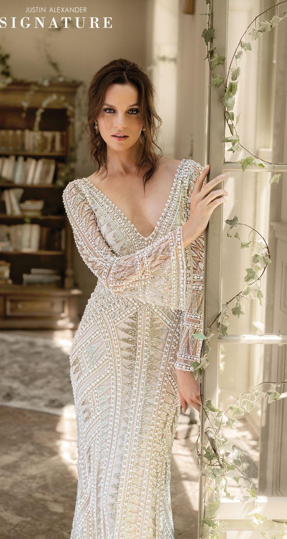 Style 9896 Geometric Pearl And Bugle Beaded Wedding Dress With Bell Sleeves Justi Geometric Wedding Dress Best Wedding Dress Designers Wedding Dresses Beaded