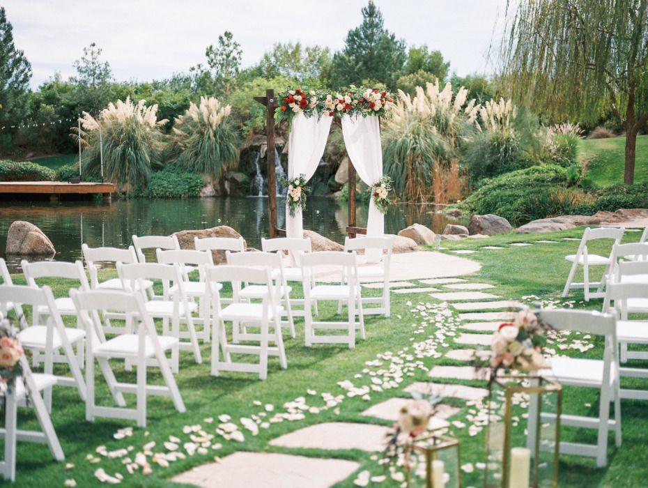 Red And Blush Airbnb Backyard Wedding Pond wedding