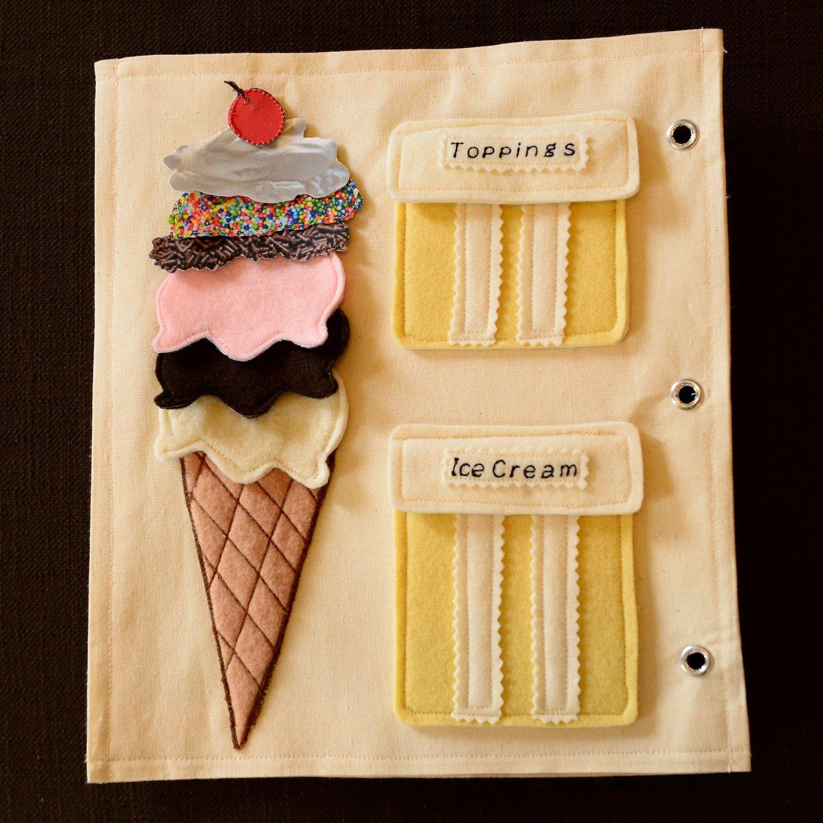 Ice Cream Cone Quiet Book Page Felt Boards Pinterest