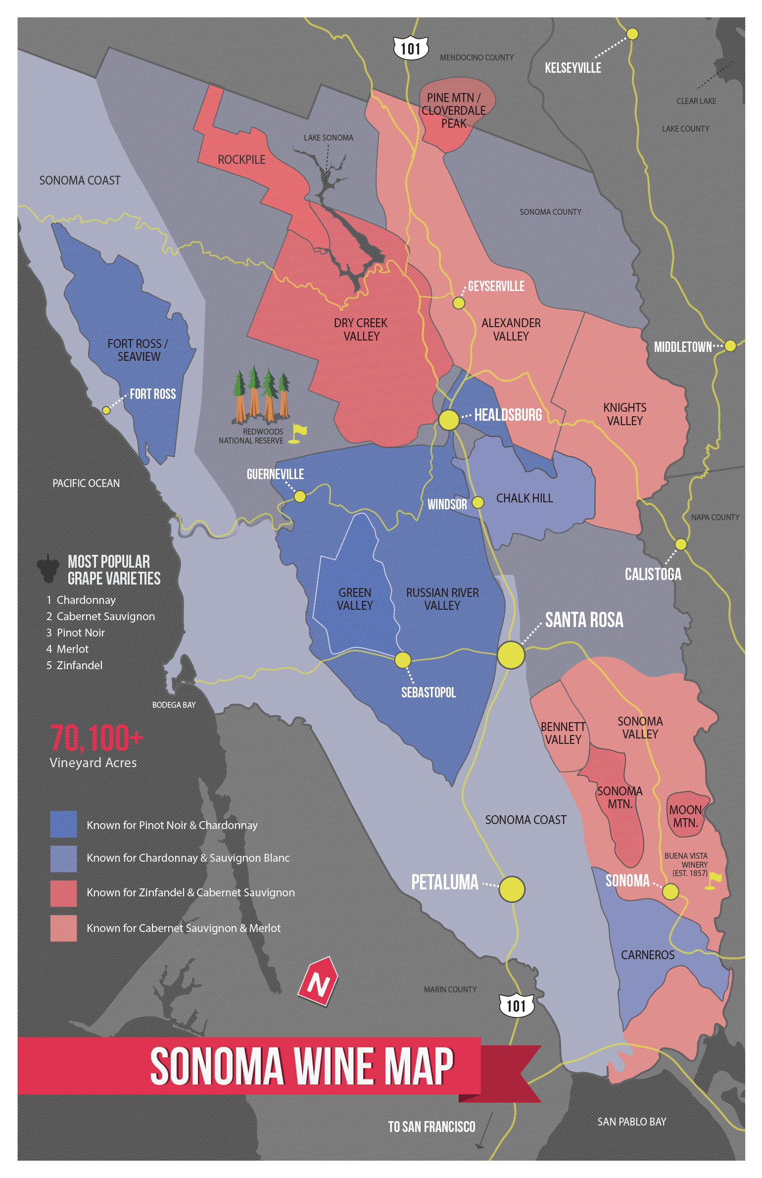 Sonoma Wine Map Poster