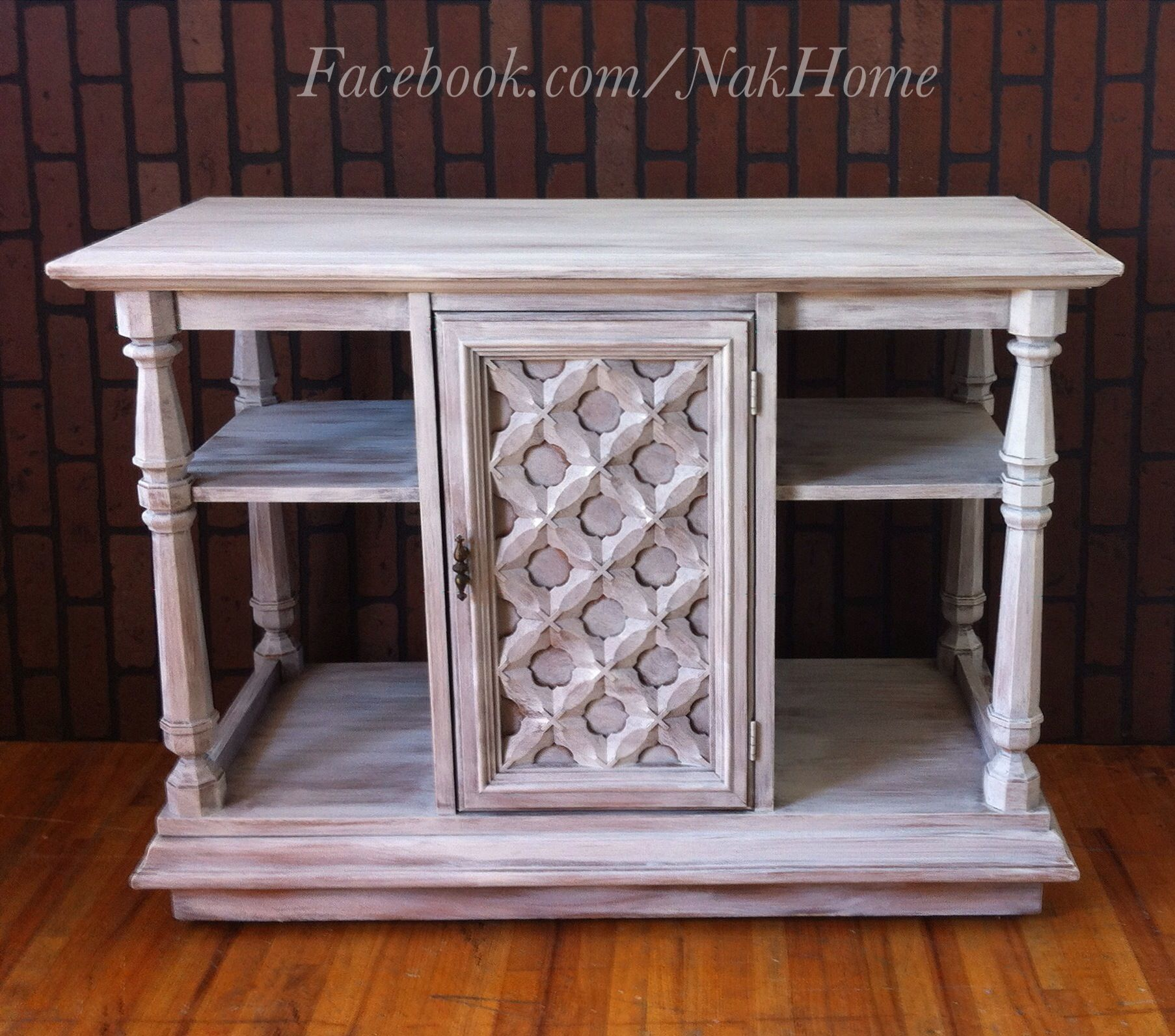 Furniture Makeover Shabby Chic White Vintage Buffet Tv Stand Console Bar Cabinet Hand Painted With Chalk Paint And Distressed Facebook Nakhome