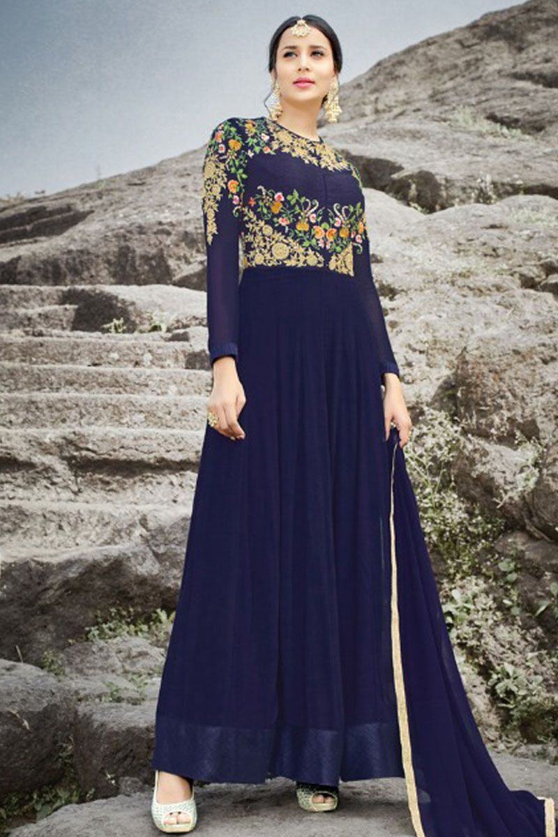 Blue color georgette fabric floral embroidered wedding wear