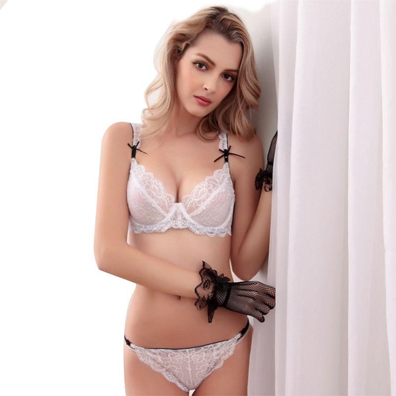 53e24992652 Balaloum Push Up Sexy Transparent Bra And Panty Ultra-than Lace Conjunto  Ropa Interior Mujer Ribbon Bow Underwear Women Set Комплект женского белья