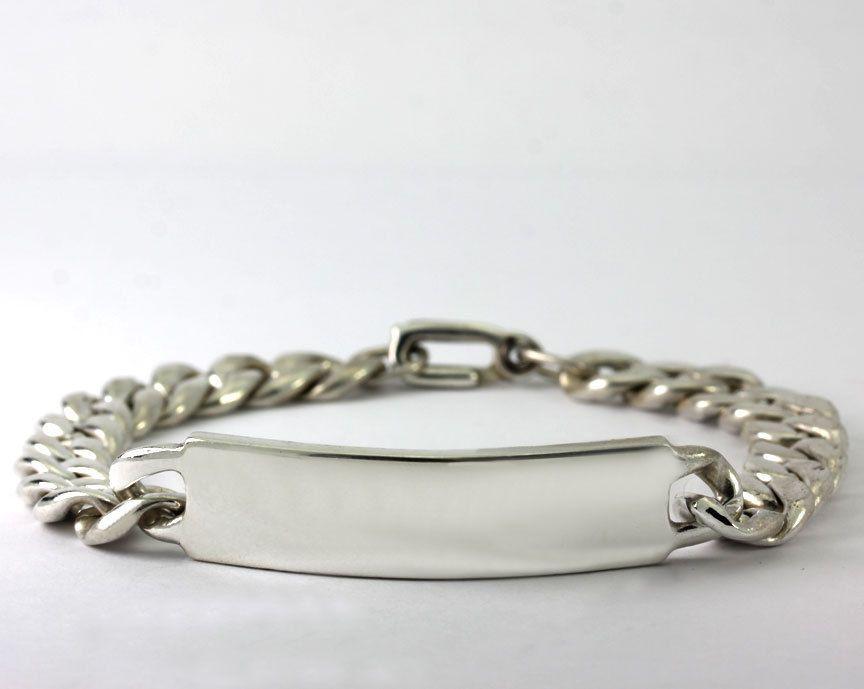 Vintage Men's Sterling Silver Engravable Bar Curb Chain ID Bracelet 37 Grams #IDIdentification