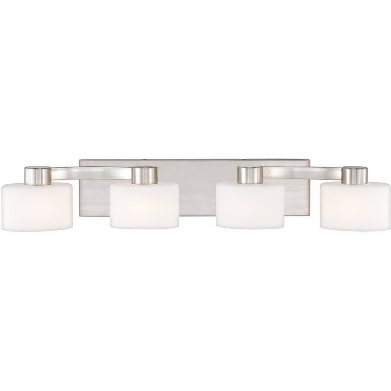 Photo of Quoizel TU8604BN Brushed Nickel Tatum 4 Light 29″ Wide Reversible Halogen Bathroom Vanity Light with Opal Etched Glass – LightingDirect.com