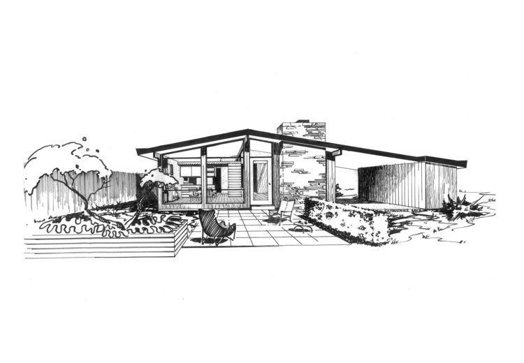 Ridgewood House Sketch St Louis Midcentury Modernism Ralph Fournier