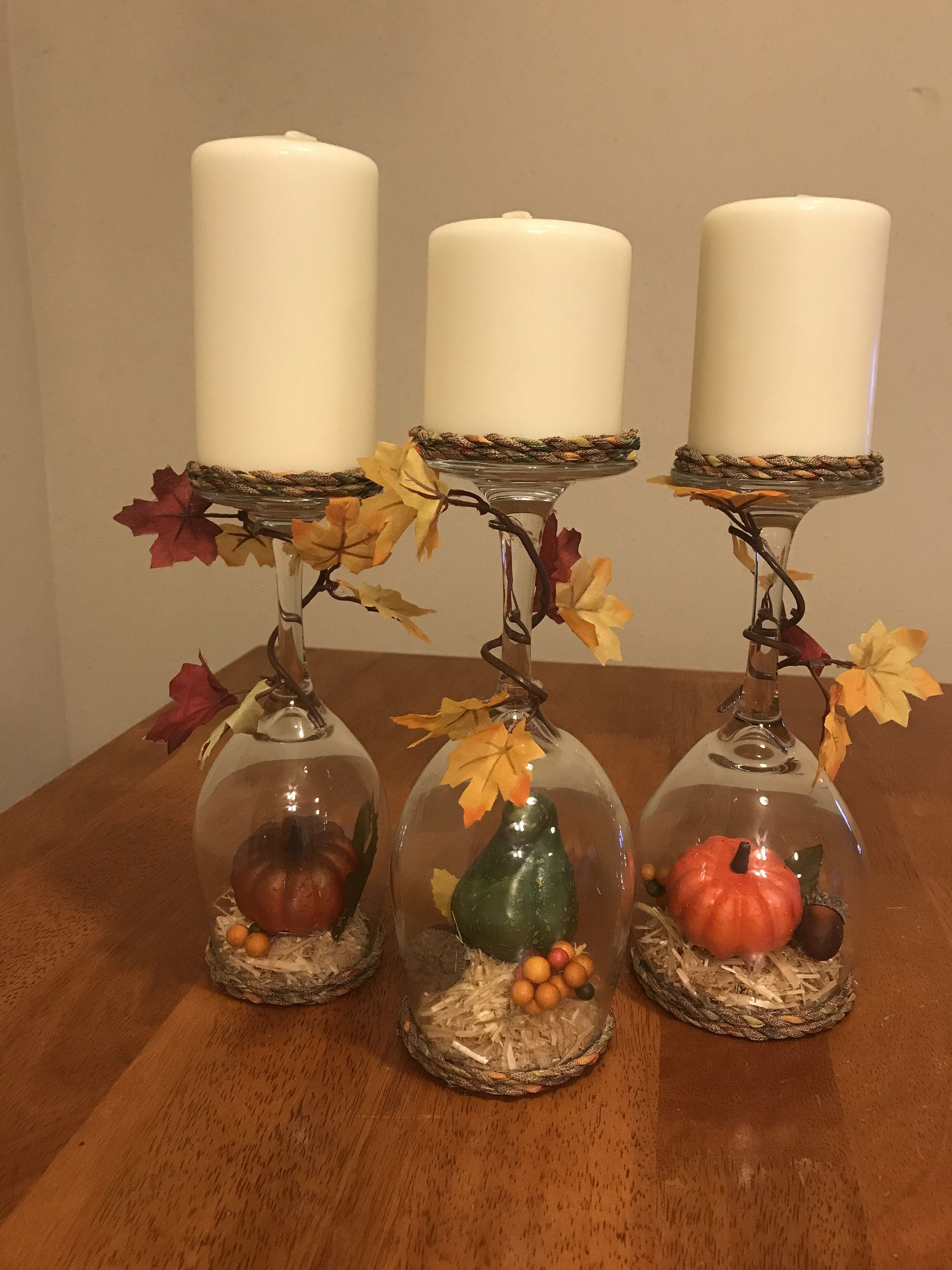 Harvest Wineglass Candleholders By Jenscreationsbyjen On Etsy Wine Glass Candle Holder Wine Glass Candle Wine Glass Crafts