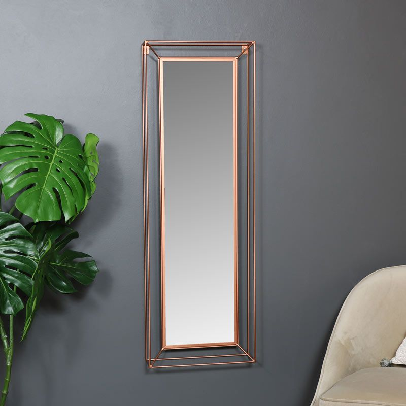 Large Rectangular Copper Metal Framed Wall Mirror 38cm X 114cm Copper Colour Metal Wall Mirror In A 3d Rectangle Framed Mirror Wall Frames On Wall Mirror Wall