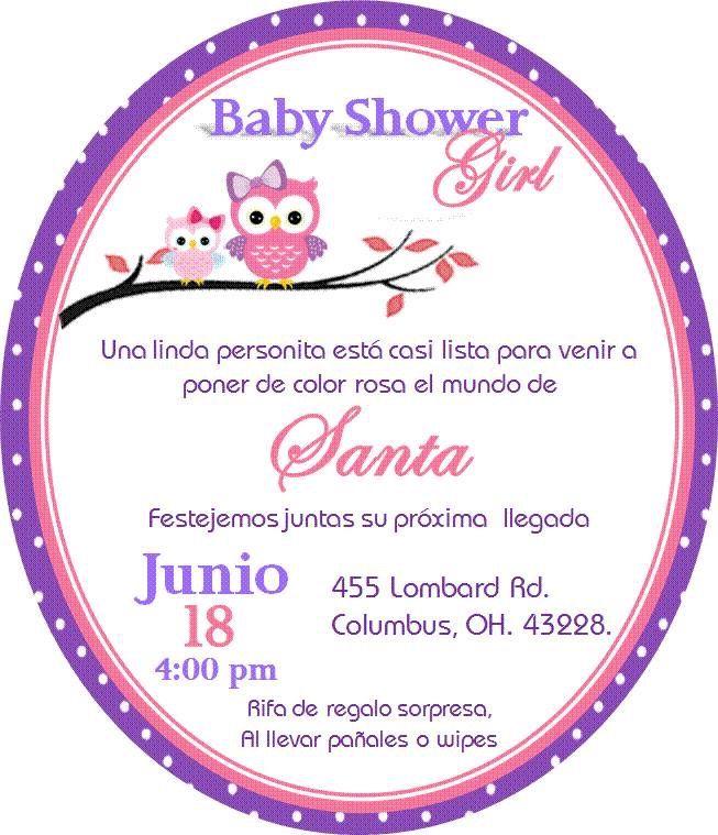 Invitacion De Búho Para Baby Shower Niña Baby Shower