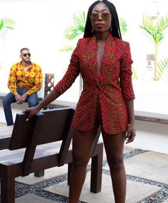 d03ffaa8eca05 African Print Blazer Jacket with Shorts - Ankara Print - African Dress - Two  Piece Outfit - Handmade