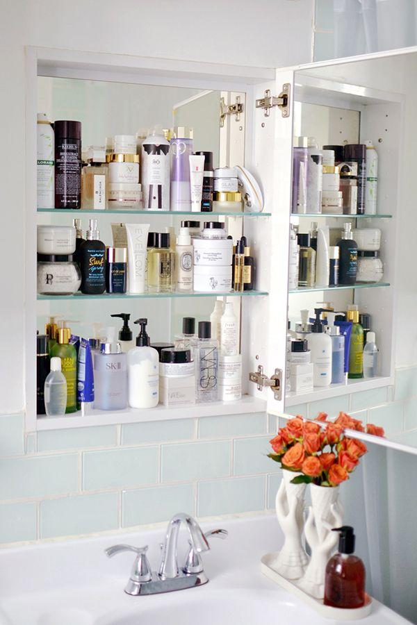 Beauty Insider: NewBeauty Digital Managing Editor, Carolyn Hsu | glitterguide.com. Mirror on both sides of cabinet door.