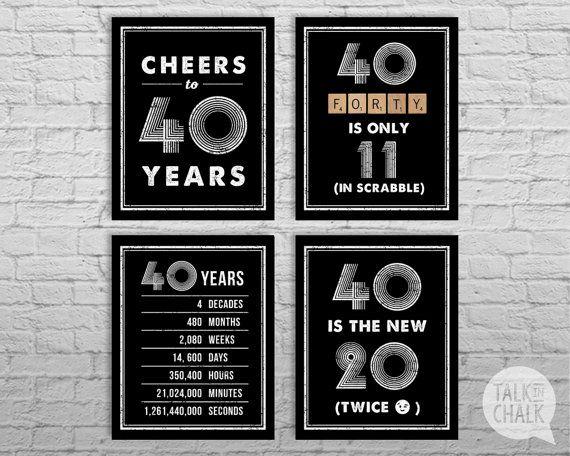 40th Birthday Sign Pack 40th Birthday DIGITAL by TalkInChalk