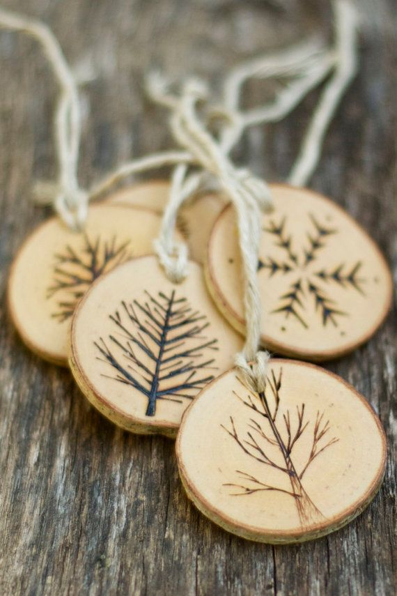 Tree Branch Christmas Ornaments Wood Burned Trees And Snowflakes Rustic Natural And Eco Friendly Set Of  As Seen In Country Living