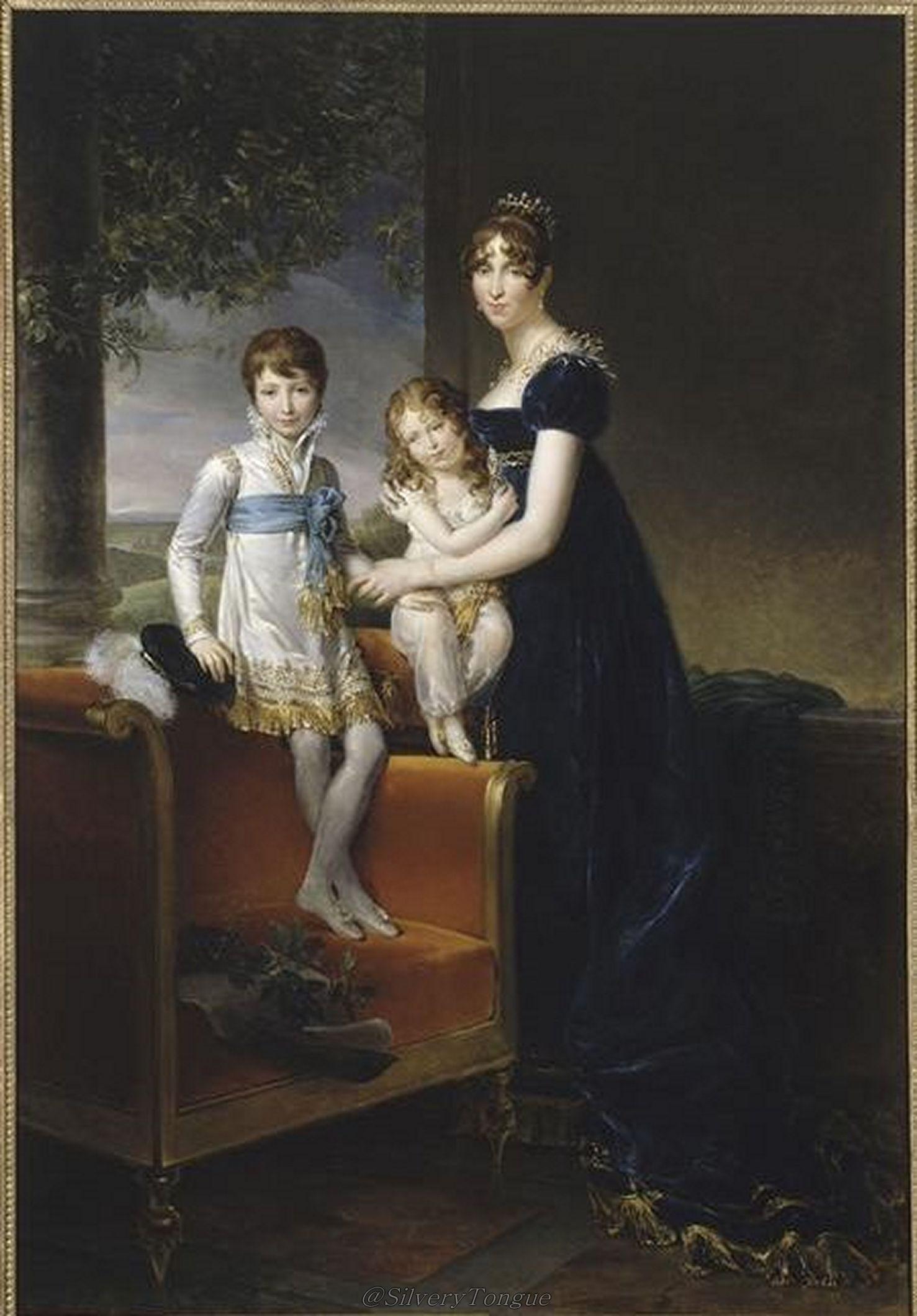 Koningin Hortense met de prinsen Napoleon Louis en Louis Napoleon door Gérard.   Particuliere collectie.