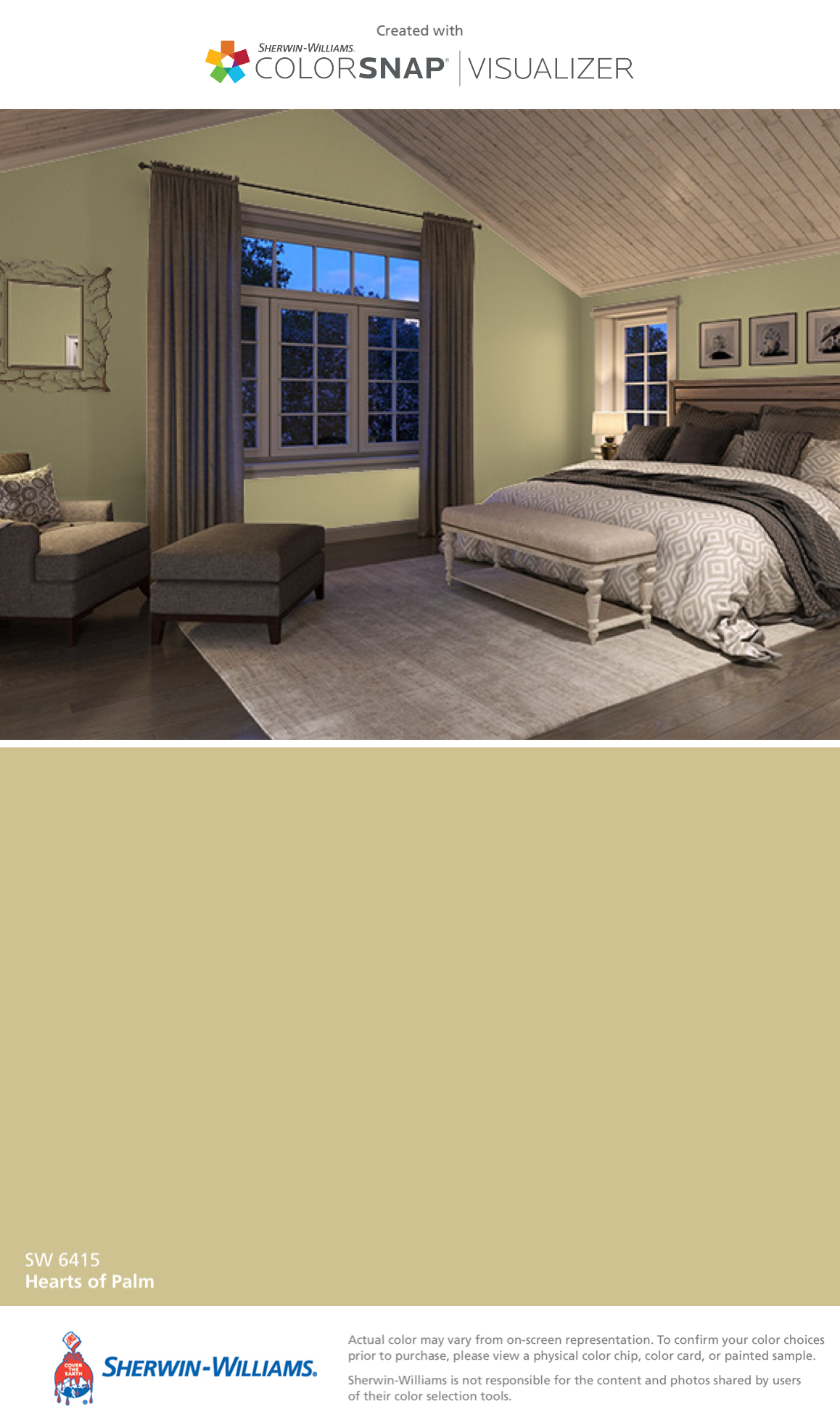 I found this color with ColorSnap® Visualizer for iPhone by Sherwin-Williams: Hearts of Palm (SW 6415).