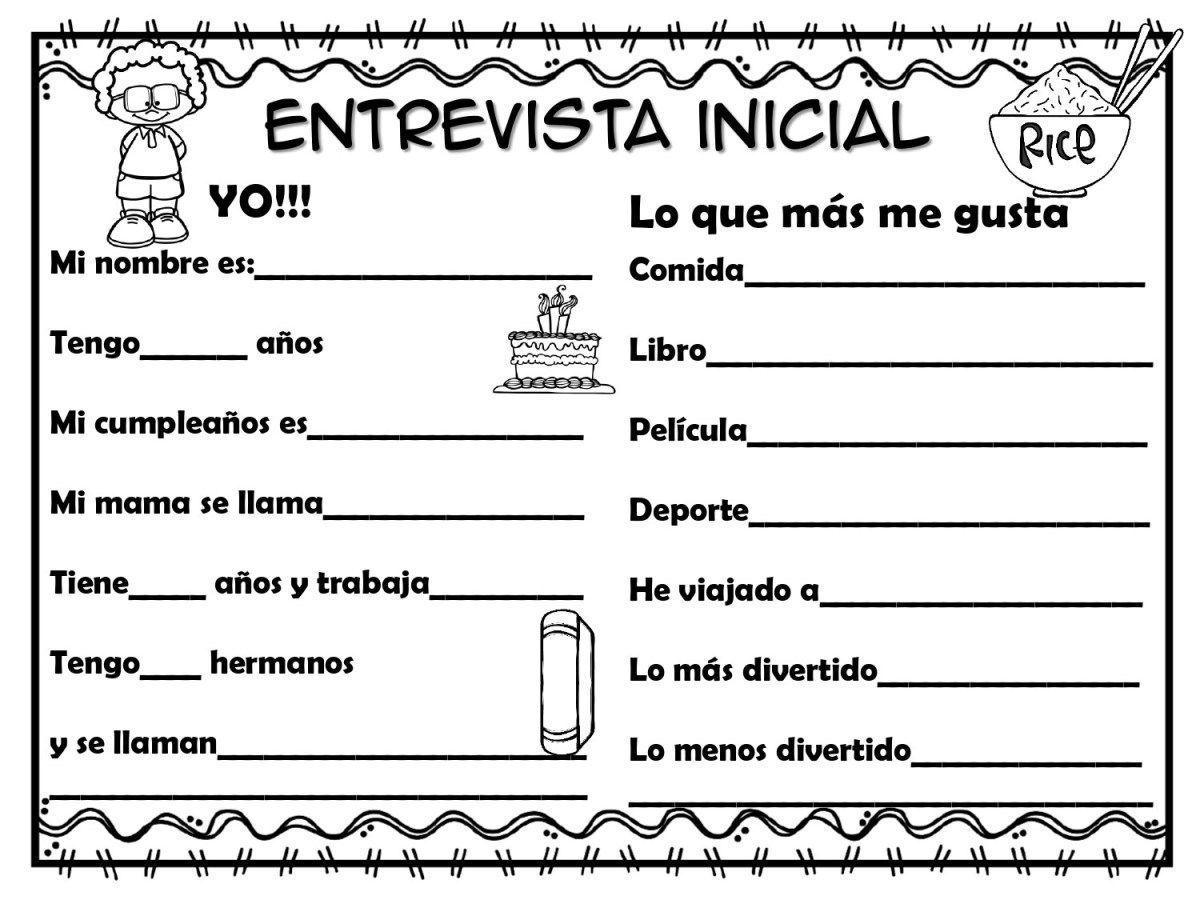 Modelo de entrevista inicial primer día de clase | Primer dia de clases,  Lectura y escritura, Actividades para clase de español