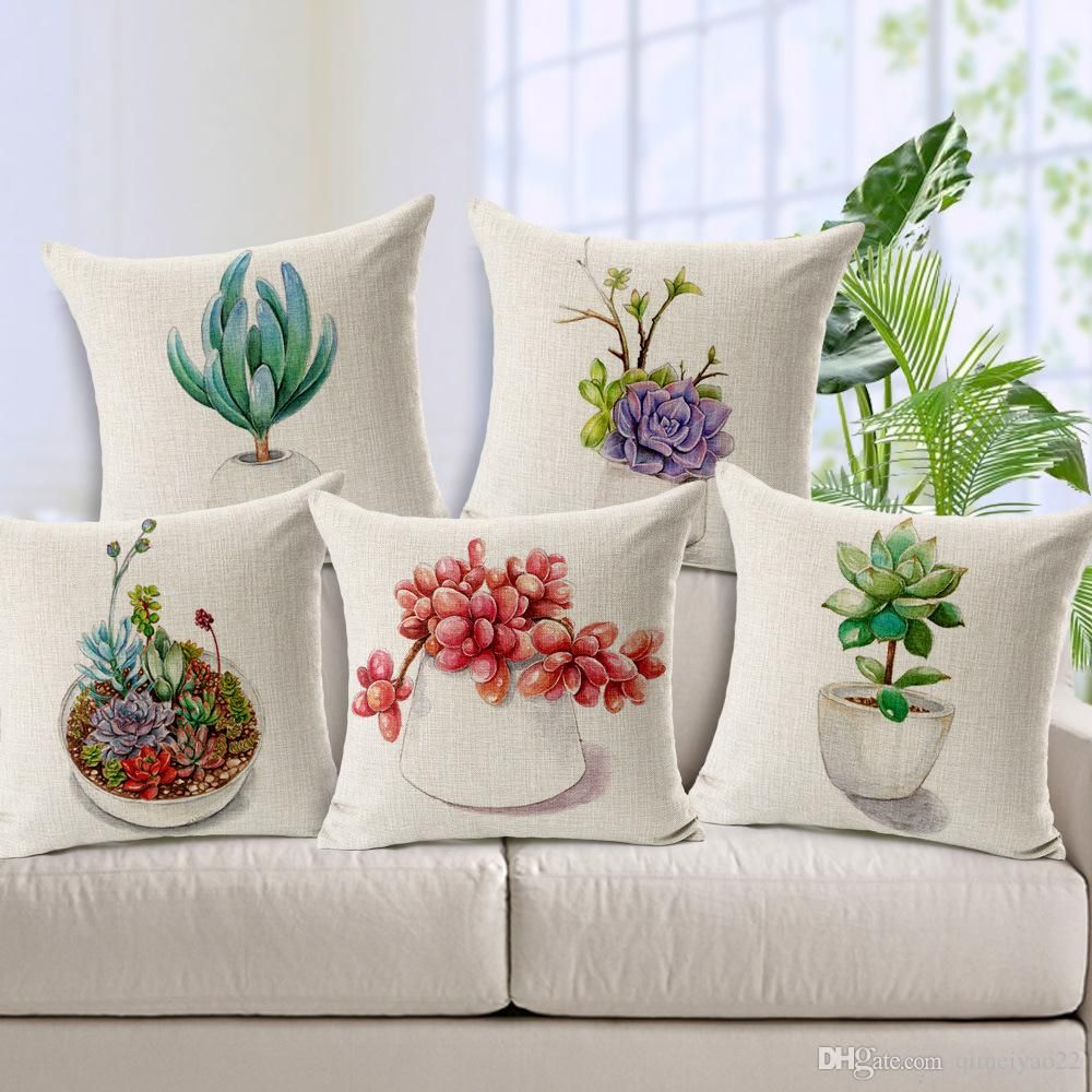 Small Fresh Succulent Potted Plants Print Cushion Covers Cotton