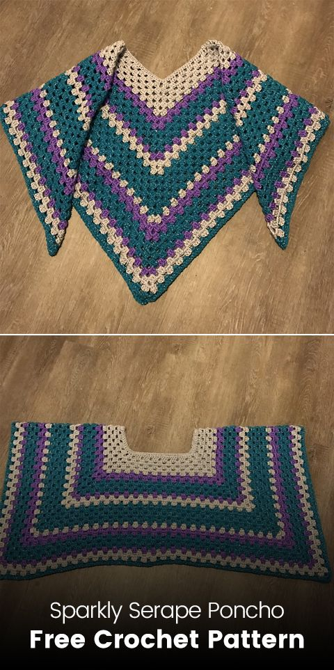 Sparkly Serape Poncho Free Crochet Pattern Crochet Crafts Poncho Handmade Homemade