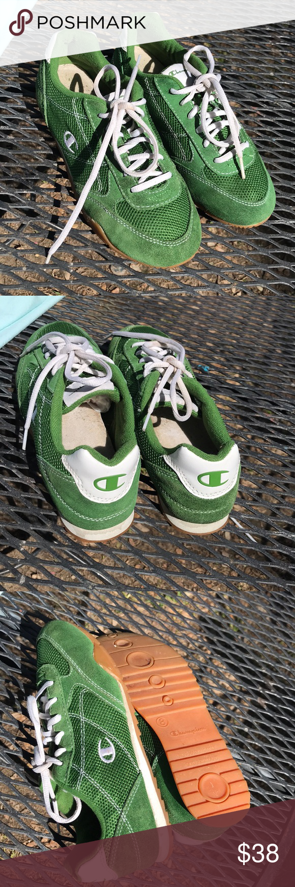 e66c343da Vintage Champion sneakers Green suede sneaker and mess sides. In very good  condition. Champion Shoes Sneakers