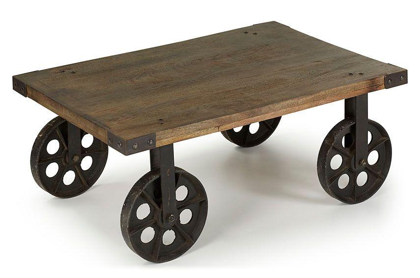 Muebles mesa de centro con ruedas for Mesa de centro de metal industrial