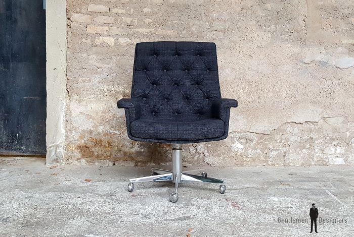 Fauteuil De Bureau Vintage En Tissu Sur Roulette Pivotant Gentlemen Designers Fauteuil Bureau Vintage Fauteuil Bureau Fauteuil Fauteuil Bureau Design