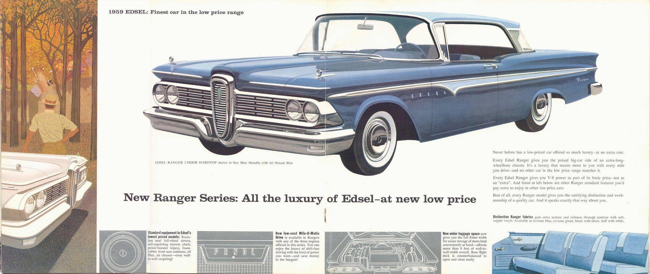 1959 Edsel Ranger 2 Door Hardtop Print Ads Car Parts Automobile Luxury
