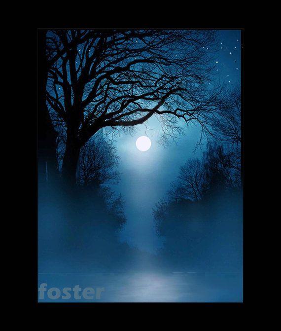 Tree Art Landscape Moonlight Cielos Pintados Arboles Pintados Pintura Paisajistica