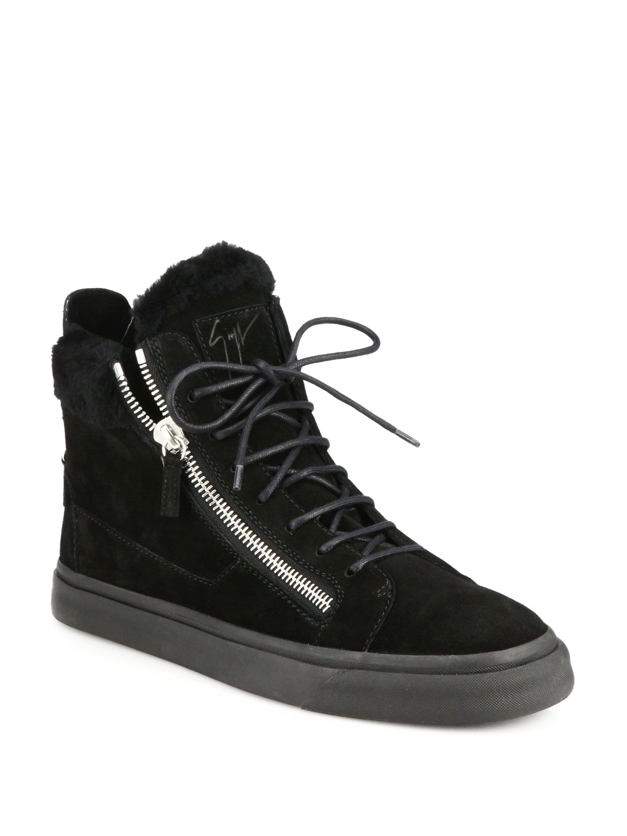 Mens Suede & Leather Double-Zip Mid-Top Sneakers Giuseppe Zanotti