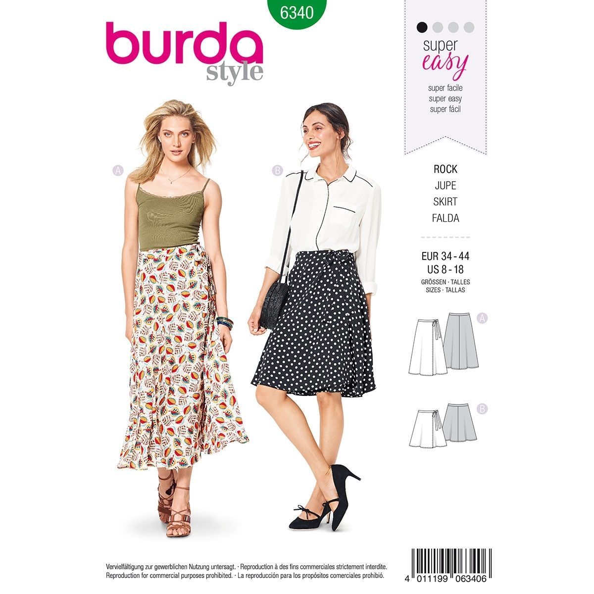37439ba073 Misses Wrap Skirt Burda Sewing Pattern 6340. Size 8-18   Sew Happy ...