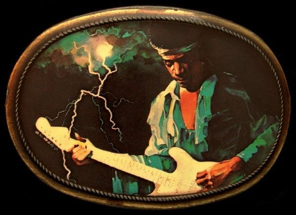 MJ04162 *COOL* 1976 PACIFICA ***JIMI HENDRIX*** ROCK MUSIC BUCKLE