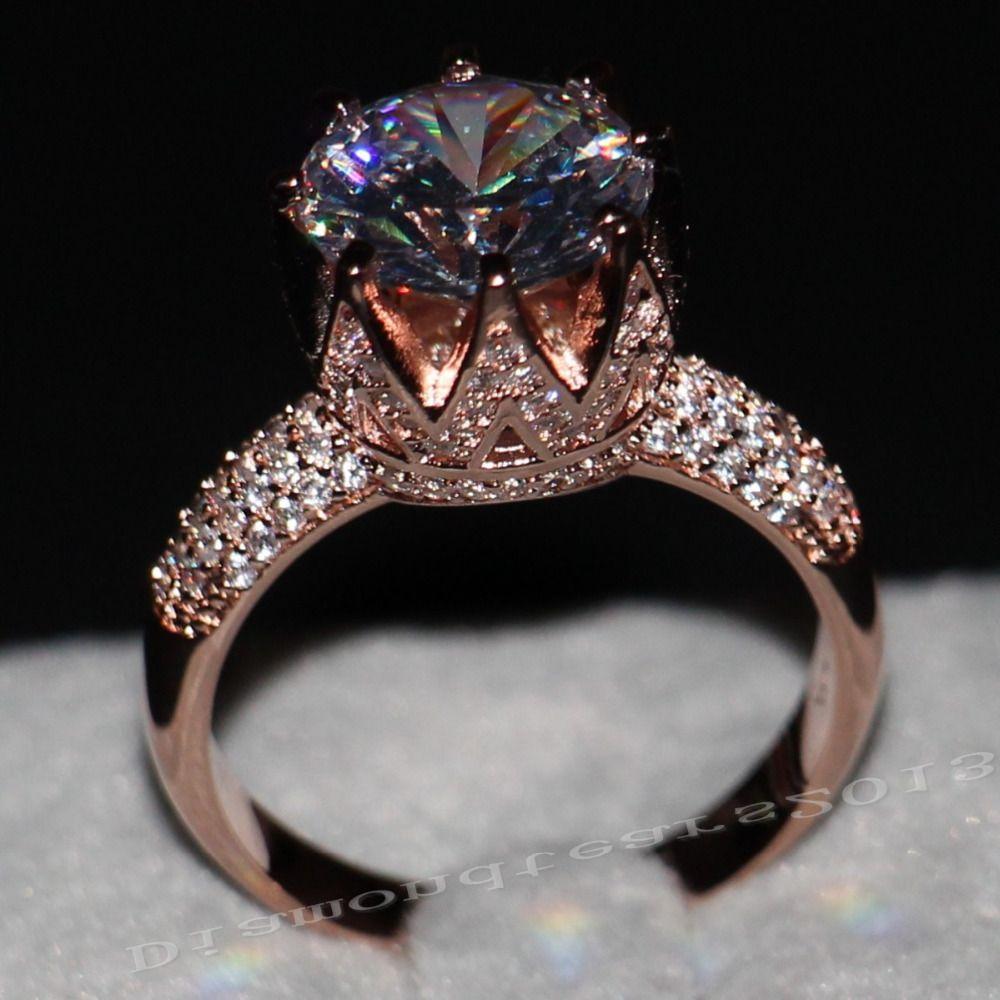 Gioielli di lusso 8ct solitaire lusso 925 11mm big topazio diamante simulato wedding band oro rosa crown donne anello size5-