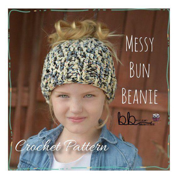 b5d75772 Messy Bun Beanie - PATTERN ONLY- Crochet - Size Toddler, Child, Adult