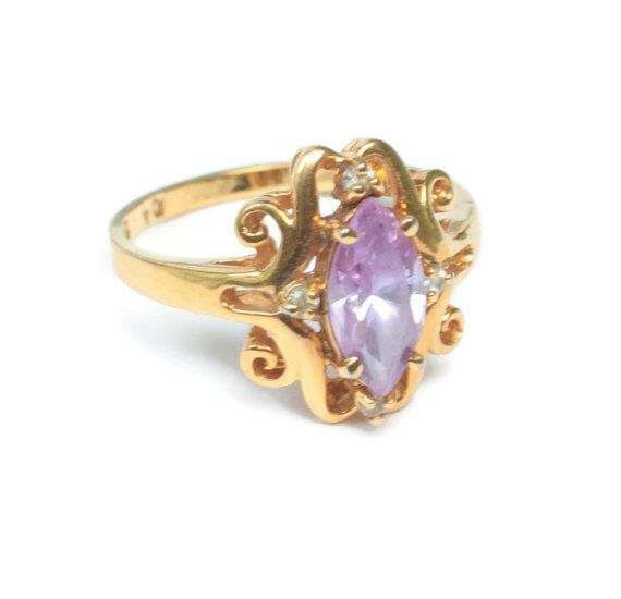 Amethyst Glass Ring Fancy Setting Clear Accents by PastSplendors #vintage #jewelry #ring #fashion #BATB