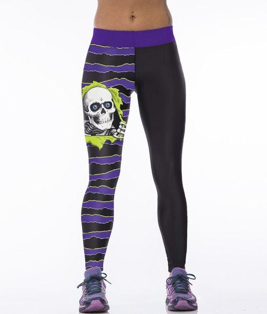 43aba4c64fe28 Newest womens leggins 2015 skull purple stripes 3d printed leggings spandex  Elasticity vintage sport leggins fitness gym pants