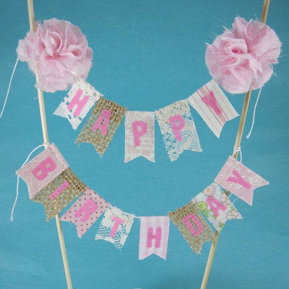 Shabby Chic Cake Banner Pink Happy Birthday By Hartranftdesign