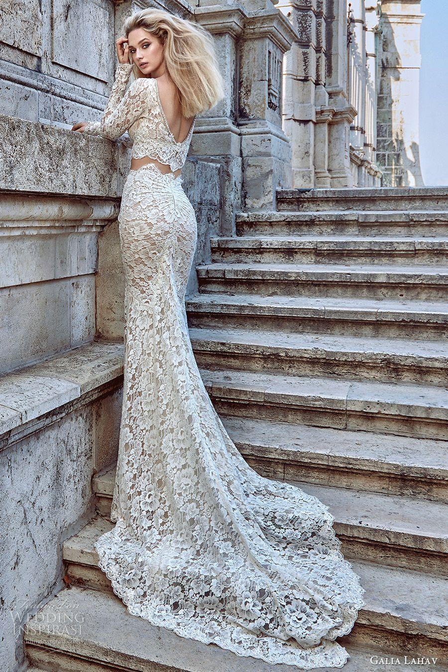 Galia lahav fall bridal long sleeves v neck sheath lace wedding