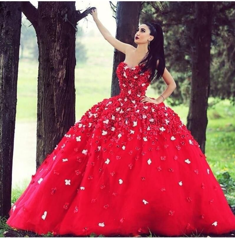 Luxury Red Bridal Ball Gowns With 3D Flowers Appliques Beads ...