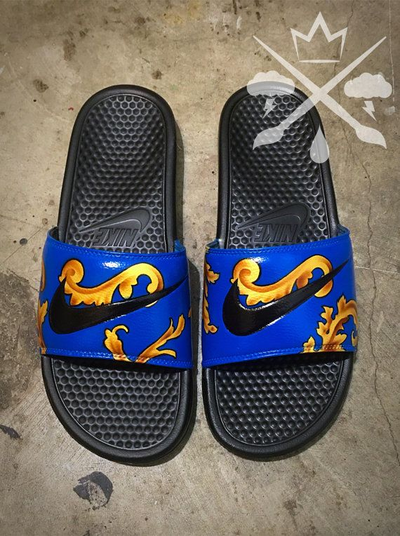 e7bb82aa190b73 Nike Custom Blue Supreme Foamposite Benassi Swoosh Slide Sandals Flip flops  Men s