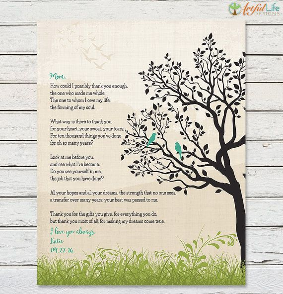 GIFT FOR MOM From Daughter Mom Poem Print Birthday Gift Mothers Day For Mother Thank You Art Keepsake Give