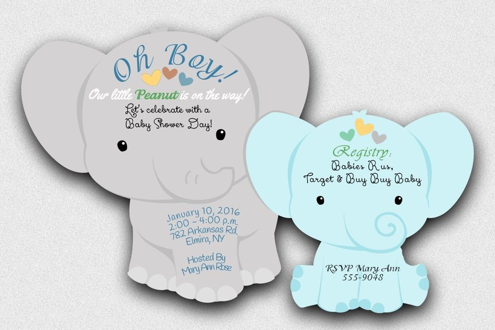 30 Elephant Baby Shower Invitations Theme Cards Die Cut Boy Girl ...