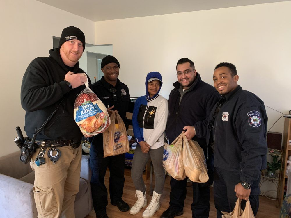 Inkster Police Department Delivers Thanksgiving Turkeys To Deserving Families Archive Of Mi Headlines Thanksgiving Turkey Police Inkster