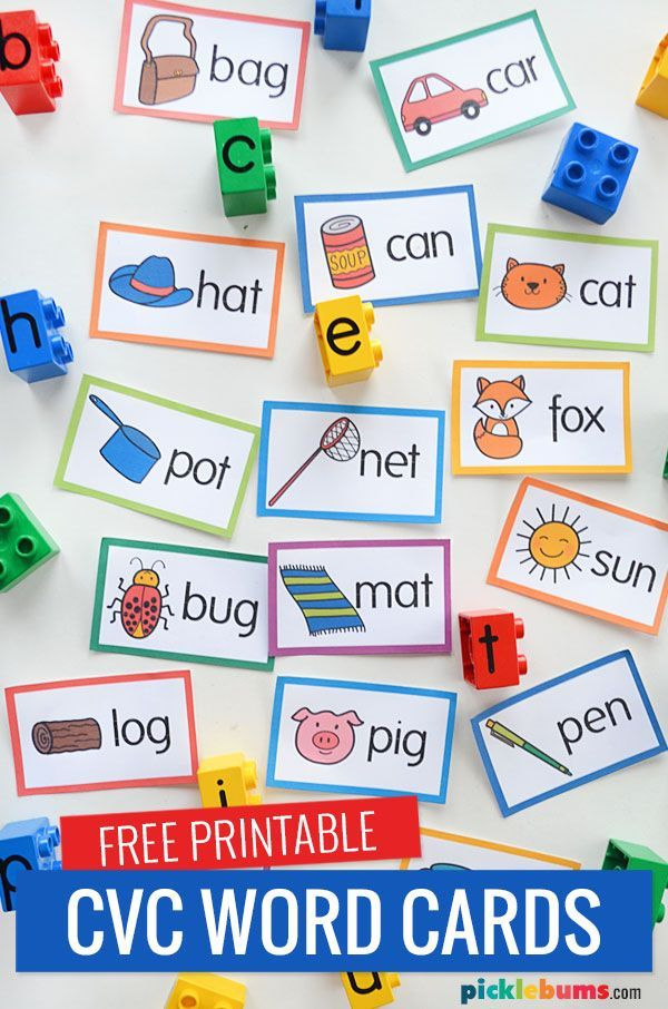 Build Words With Letter Lego Blocks and CVC Word Cards