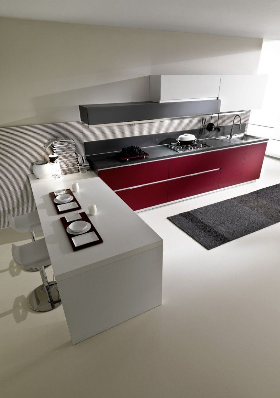 Brilliant Modern Kitchen Design with Ergonomic Feature: Minimalist Kitchen With Maroon White And Black Color Tricks Accentuation ~ hivenn.com Kitchen Designs Inspiration