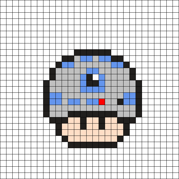 R2d2 Star Wars Mushroom Perler Bead Pattern Pixel Art