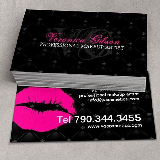 Tufted Hot Lips Makeup Artist Business Cards