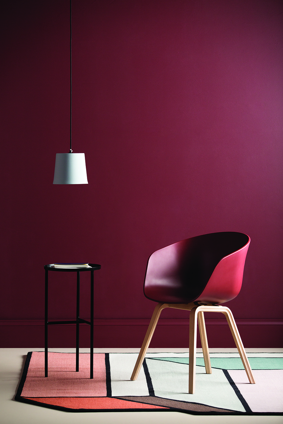Intense berry feature wall colour is a